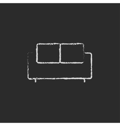 Sofa icon drawn in chalk vector