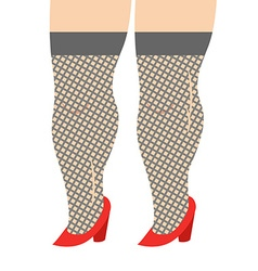 Female legs in stockings and red shoes legs girl vector