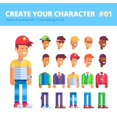 Male character creation set flat vector