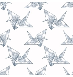 Origami ornate crane seamless pattern vector
