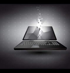 Laptop in 3d with light effect vector
