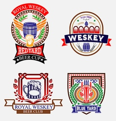 Vintage craft beer brewery weskey labels vector