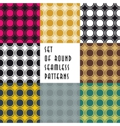 Set of crossed circles colored seamless patterns vector