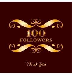 Gold 100 followers badge over brown vector