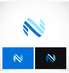 abstract shape letter n round logo vector image