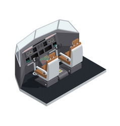 Airplane interior isometric isolated composition vector