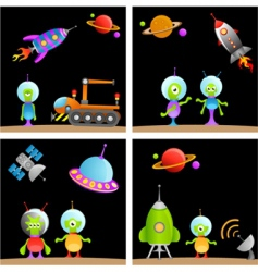 alien cartoon vector image vector image