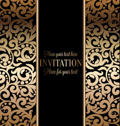 Antique baroque wedding invitation gold on black vector