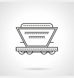 Bulk cargoes rail car flat line icon vector