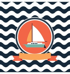 card at sea sailing yacht vector image