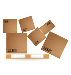 Cardboard boxes with cargo fallen and scattered on vector