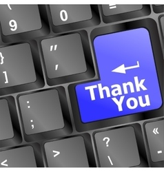 Computer keyboard with thank you key business vector
