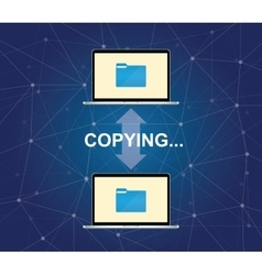 copying document between two laptop with folder vector image vector image