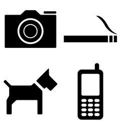 Dog camera cigarette phone icons vector