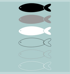 Fish black grey white colour icon vector