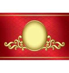 golden vintage frame on red background vector image vector image