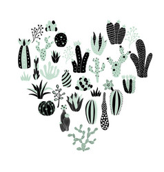 Green heart cactus vector