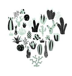 green heart cactus vector image