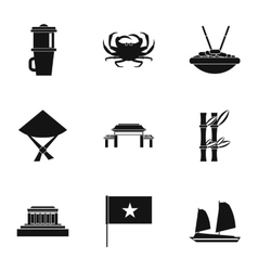 Holiday in vietnam icons set simple style vector