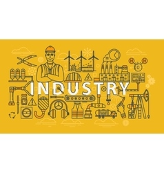 Industry thin line industrial banner vector