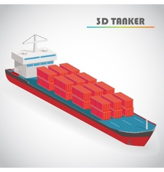Isometric 3d tanker with freight container icon vector
