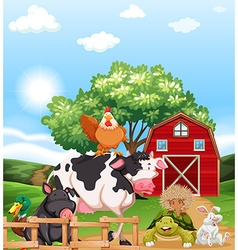 Mixed animals at a farm vector