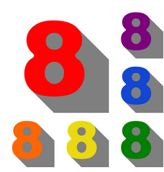 number 8 sign design template element set of red vector image