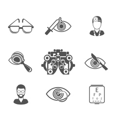 Oculist and optometry black icons set vector