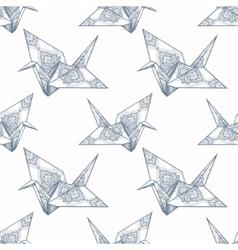 Origami ornate crane seamless pattern vector image vector image
