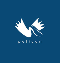 pelican negative space concept design template vector image