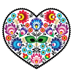 Polish folk art art heart embroidery with flowers vector image vector image