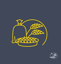 Sack of flour and cherry pie Logo for bakeries vector image