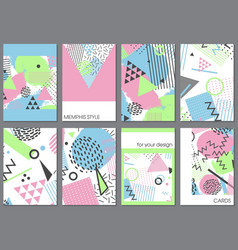 set of eight cards in memphis style with vector image