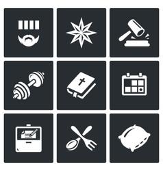 Set of prison icons prisoner tattoo vector