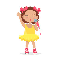 singing girl with bows on head little singer vector image vector image