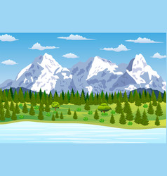 Summer landscape with meadows and mountains vector