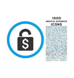 Unlock banking lock rounded symbol with 1000 icons vector