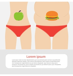 Woman fat and skinny figure healthy unhealthy food vector
