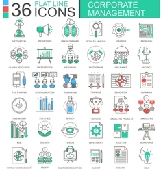Corporate managment modern color flat line vector