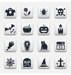 Halloween icons web buttons set vector image