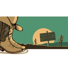 Western with cowboy shoes and desert landscape vector image