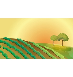 A farm in the hills vector