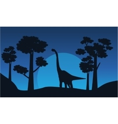Silhouette of brachiosaurus with tree scenery vector