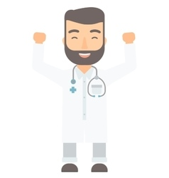 Doctor standing with raised arms up vector