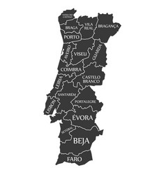 Portugal map labelled black vector
