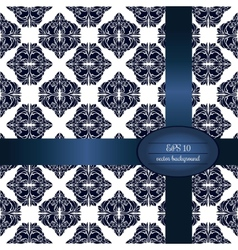 Dark blue classic seamless pattern in white vector