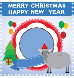 New year christmas card with sheep 2015 vector image