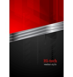 Red and black tech background with metal stripe vector