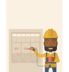 Black electrician repairing an electrical panel vector