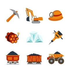 Coal industry flat icons set vector